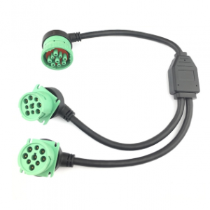 Right Angle Green J1939 Y Cable 1 Female To 2 Male Splitter Y Cable Type 2