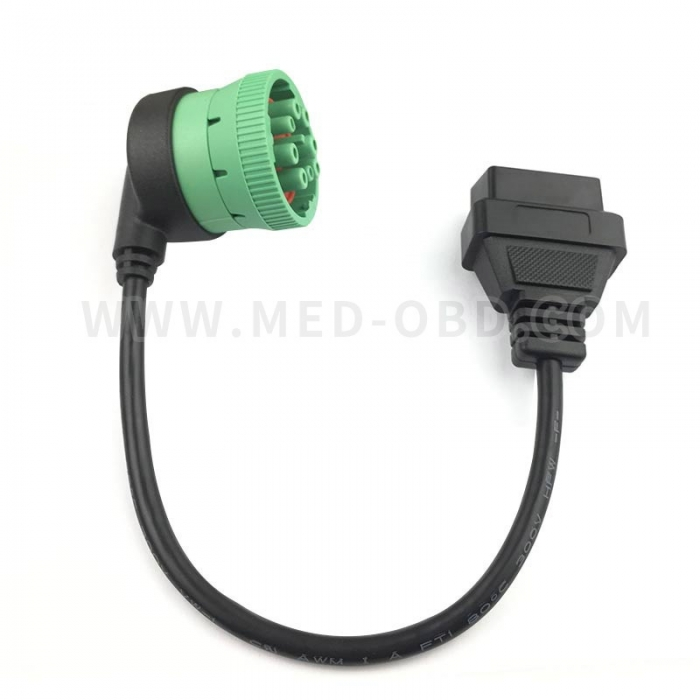 OBDII Female  To Green Type2 J1939  Female Cable Right Angle 0.3m