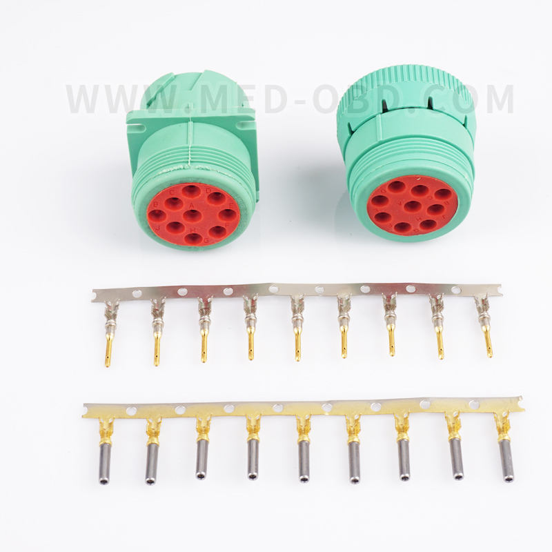 Green J1939 Car Connector J1939 Female Male 9pin Plug Deutsch Automotive HD10-9-1939PE Deutsch J1939