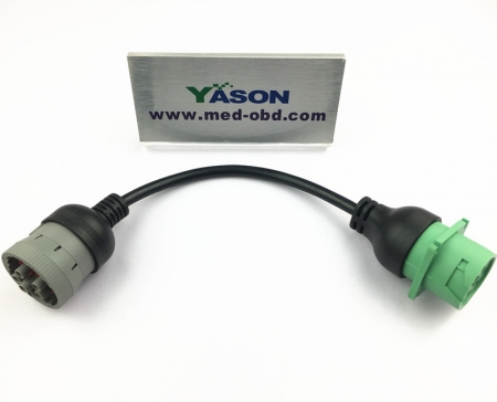 Low Profile Green J1939 Male To J1708 Female ELD Cable