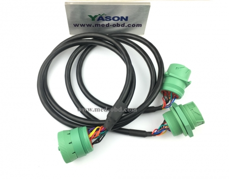 Green J1939 Male To 2pcs Green Dual J1939 Female Y Cable