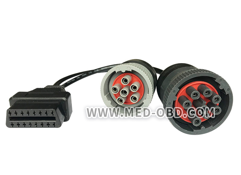 J1939 and J1708 to OBD-II 16 pin Adapter Y-Cables