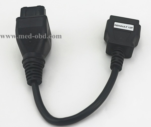 Renault Adapter, OBD 16P FEMALE For RENAULT 12P To Obd2 Adapter